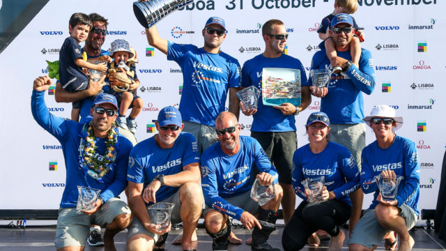 Leg 01, Alicante to Lisbon arrivals. Winner Vestas 11 Hour Racing - Photo by Jesus Renedo/Volvo Ocean Race. 28 October, 2017.