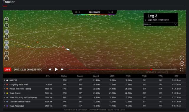 Volvo Ocean Race 2017-18 - Leg 3 - MAPFRE und DONGFENG im Halsenduell - Screenshot © VOR Website 2017