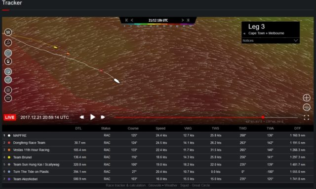 Volvo Ocean Race 2017-18 - Leg 3 - MAPFRE und DONGFENG - Kurs Südost - Screenshot © VOR Website 2017