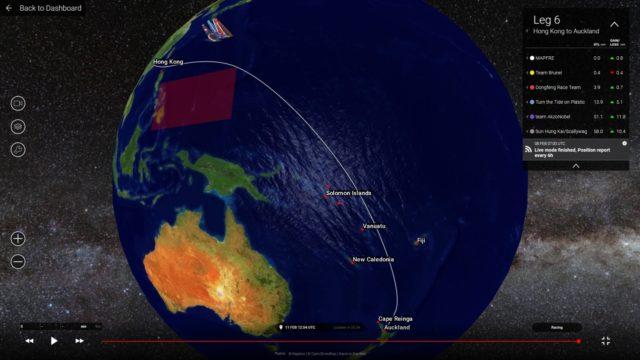 Volvo Ocean Race 2017/18 - Leg 6 - Hongkong nach Auckland - Runter gehts - Screenshot © VOR 3D Tracker