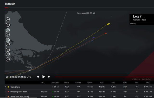 Volvo Ocean Race 2018 - Leg 7 - MAPFRE nimmt Rennen nach Reparaturstop wieder auf - Photo © Screenshot VOR Tracker