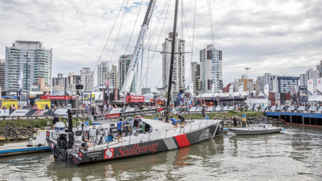 Itajai Stopover. Sun Hung Kai / Scallywag is back on the water for Leg 8 from Itajai to Newport. 21 April, 2018 - Photo © Ainhoa Sanchez/Volvo Ocean Race