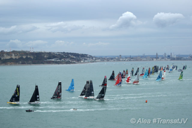 Start des Transat Jacques Vabre 2019 in Le Havre - IMOCA 60 - Photo © Alea#TransatJV